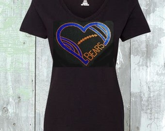 Chicago Bears  Heart Sequins Heart Shirt