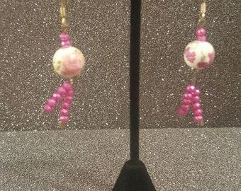 Pink Rose Earrings