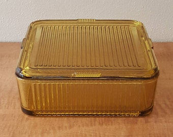 "Refrigerator Set Gold Ribbed Glass with Lid  8 1/2"" Square x 2"" Deep Lid has two chips"