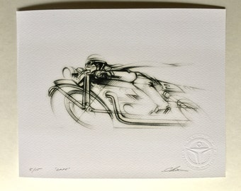 Vintage Cafe Racer Motorcycle Drawing