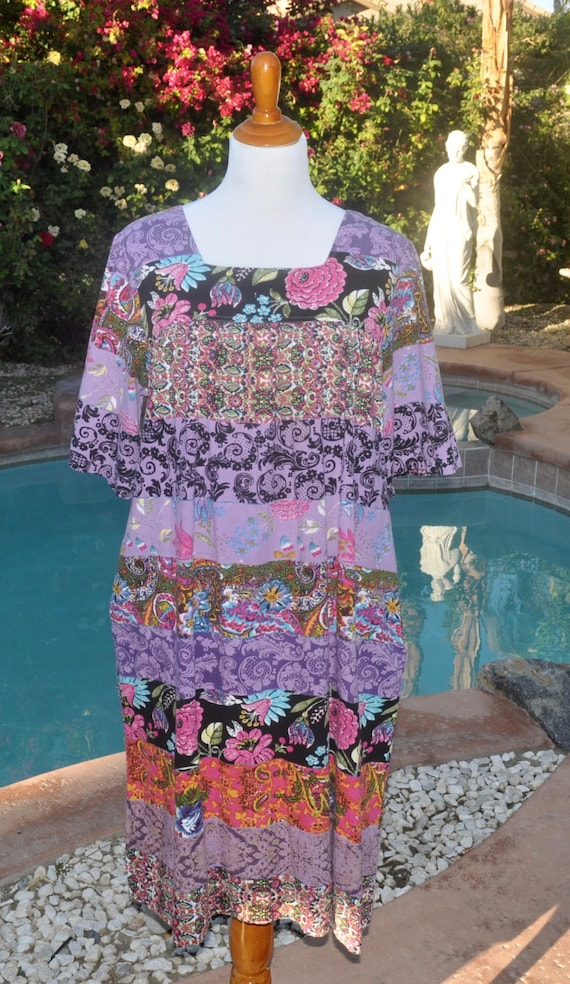 Vintage 90s Oversized Boho Gypsy Festival Hippie Purple and Pink Flowers and Paisley Dress Sz L