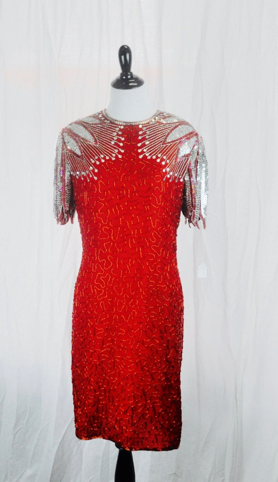 Lovely Vintage Lawrence Kazar Beaded and Sequined Red Dress