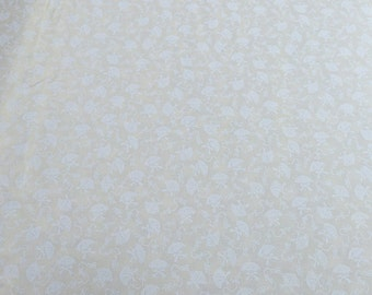 White Umbrellas on Beige Cotton Fabric