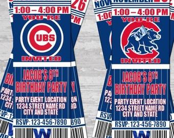 Chicago Cubs Themed Birthday Invitation Tickets - world series champions! Baseball Birthday Invitations invites! Add a photo
