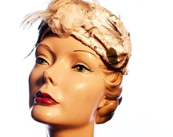 Exquisite Ivory 1960s Feathered and Beaded Vintage Hat