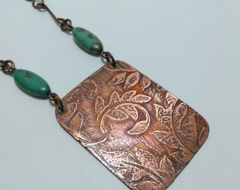 Copper pendant necklace, etched copper pendant, copper necklace, gift for her