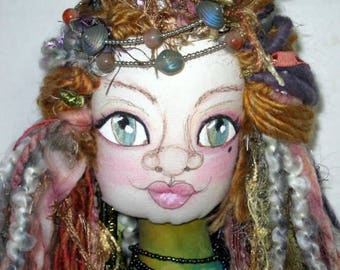 Maiden OOAK Art Doll Bust, Soft Sculpture Cloth Doll Shelf Sitter , One of a Kind Fantasy Bust Art Doll