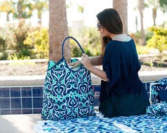 Monogram tote bag,  Monogrammed Beach Bag, Luna Lagoon Beach Bag, spring break bag