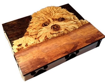 Pet Portrait Lap Desk with Pillow // Wood Stain // Wood Burn // Student Gift // Unique Gift // Gift for Him // Gift for Her