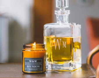 SALE!! Bourbon - 9oz Pure Soy Wax Candle in Amber Jar with Lid