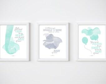 Dumbo, PRINTABLE, Set of 3, Disney quotes, Disney prints, Baby of mine, Disney wall art, Unisex nursery art, Nursery art, Baby room ideas