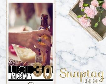 Custom Snapchat Geofilter || birthday, great gatsby, uh oh 3-0, stripes, gold mylar, balloons, balloon numbers, gold balloons, 30th birthday