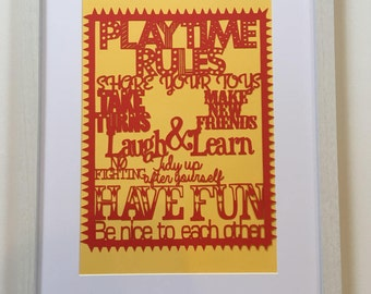 Playroom decor, playroom rules, playroom wall art, rules for children, nursery rules, gifts for children