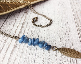 Blue Quartzite Pendant Necklace // Natural Stone Necklace // Long Necklace // Tribal Necklace // Modern Necklace // Boho Necklace