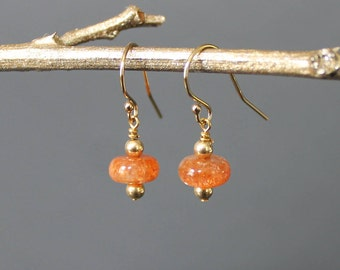 Sunstone and 14k or Sterling Silver Gold Drop Earrings, Peach Earrings, Orange Earrings, Glittery Earrings, Sunstone Jewelry