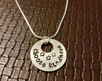 Choose Kindness - Hand Stamped Aluminum Pendant or Cuff Bracelet - Necklace/Keychain - Custom - Unique - Positive - Fun - Jewelry