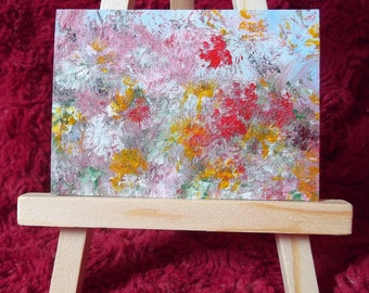"""Abstract Original Painting, ACEO, """"Summer Meadow"""", Acrylic Miniature Painting"""