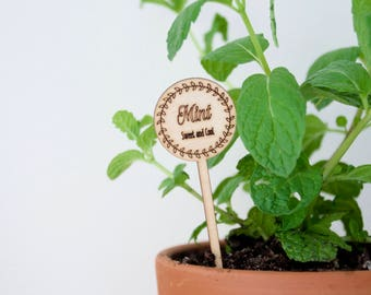Wooden laser cut herb marker / plant herb label