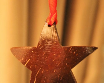 Hanging Christmas ornament carved Coconut shell star