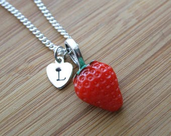 Strawberry Necklace, Sterling Silver, Bright Red Strawberry, Spring Necklace, Berry Lovers, Red Necklace, Hand Stamped Initial, Monogram