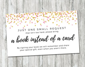 Printable Book Request Card, Pink And Gold Confetti Shower Insert, Girl Baby  Shower Book