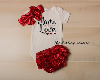 Made with Love infant girl bodysuit, baby girl bodysuit, valentines day outfit, infant outfit, newborn outfit, made with love, valentine