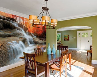 Large Photo Wallpaper Wall Mural for Dining Room, Living Room Decor, Office Wall Decor -  Autumn Waterfall Wallpaper