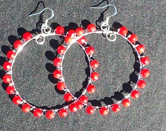 Big Red Circle Earrings/Wire/Red Faceted Dyed Bamboo