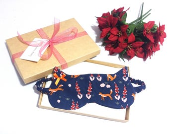 Fox Print Sleep Mask, Organic Cotton Sleep Mask, Cat Shape Blindfold, Gift for Her, Mothers Day, Made to Order