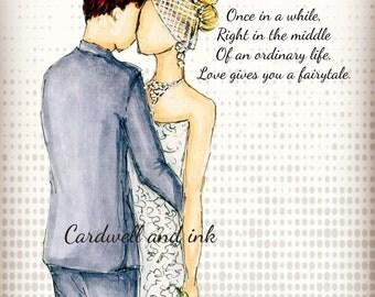Wedding illustration, wedding portrait, fashion illustration, gift ideas, anniversary gift,  custom illustration, custom wedding