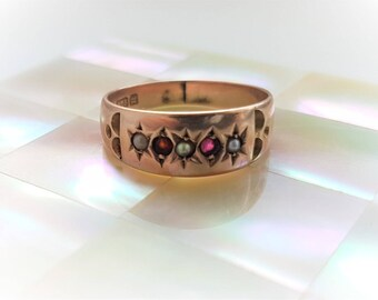 Classic beauty - Victorian 9k rose gold band with seed pearls and rubies. Great alone or for stacking. Antique gold ring.