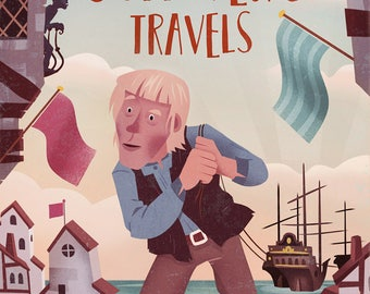 Gullivers Travels Children's Book Poster Instant Download Kids Room Wall Decor