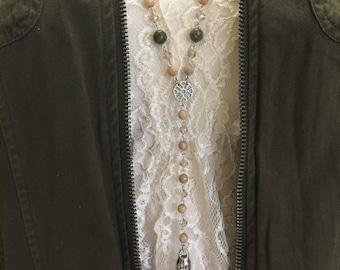 Gemstone Y Necklace, Gemstone and Rhinestone Y Necklace, Handmade Rosary Chain Y Necklace, Boho Chic Necklace, Silver Gemstone Y Necklace