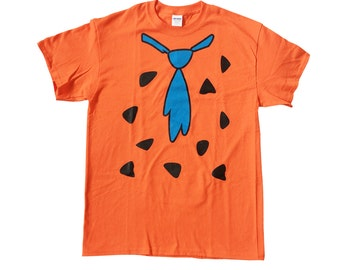 Fred Flintstone Adult T-shirt As Worn In The Flintstones TV Costume Neck Tie Flinstone Flinstones Shirt Cartoon Cosplay Caveman Orange