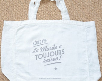 TOTE bag set no 1 and rule is 2 of the bride angry washed linen