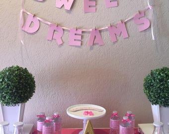 Sweet Dreams Banner   Slumber Party Banner   Sleepover Party Banner   Pink and Gold Sleep over Banner   Slumber Party Decoration  