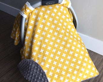 Car Seat Canopy | Mustard Yellow Car Seat Cover, White Plus Signs Crosses Dark Gray Minky Gender Neutral Carseat Canopy Boy Car Seat Canopy