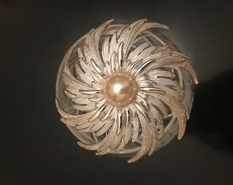 Vintage 1960's Large Silver and Pearl Brooch by Sarah Coventry