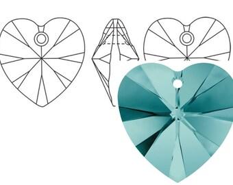 Swarovski 6228 Crystal Heart Pendant 14mm Blue Zircon 2PC 6PC