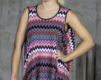 Zig zag pink tank top | Magenta tunic | Zig zag vest | Magenta pink black and white sports top by Silvia Monetti