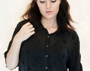Sheer Embroidered Rose Oversized Button Down Black Boho Goth Blouse