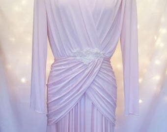 Vintage Pastel Pink Formal Ruched Dress with Long Sleeves and Crystal Appliqué - Feminine Long Maxi Gown with Flowing Asymmetrical Hemline