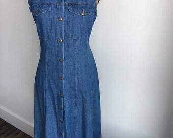 denim maxi dress | sleeveless | button-down | tie-back