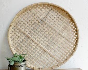 Woven Basket Wall Art bamboo woven basket | etsy