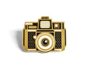 Holga Film Camera Enamel Lapel Pin Badge / Outdoors Inspired Hard Enamel Pin Antique Brass