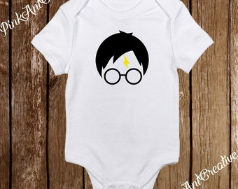 Harry Potter with Yellow Scar Glasses Onesies and Mischief Managed Girl/Boy Unisex Baby Clothes Bodysuit Baby Shower Gift
