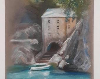 Landscape painting, pastel painting