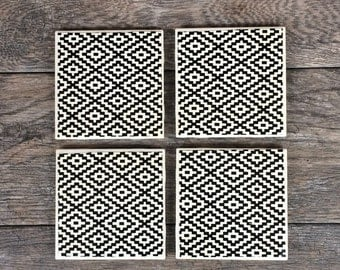 Black and White Aztec Style Coasters, Set of 4