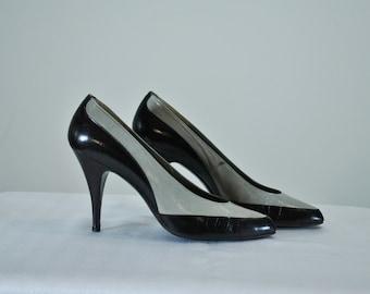 Vintage Van Eli Patent Leather Heels | Black and Gray Pumps | Sz 7 N