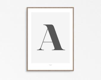 Custom print, Scandinavian Letter, Wall Art Letters, Typography Letters, Affiche scandinave, Alphabet Letters, scandinavian modern, letter A